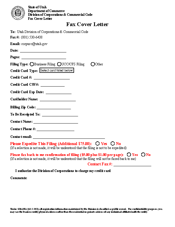 Private Fax Cover Sheet