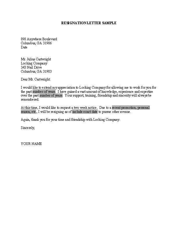 Professional Resignation Letter Word Doc