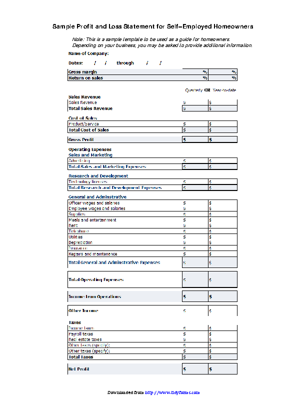 Profit And Loss Statement For Self Employed Template Free Pdfsimpli