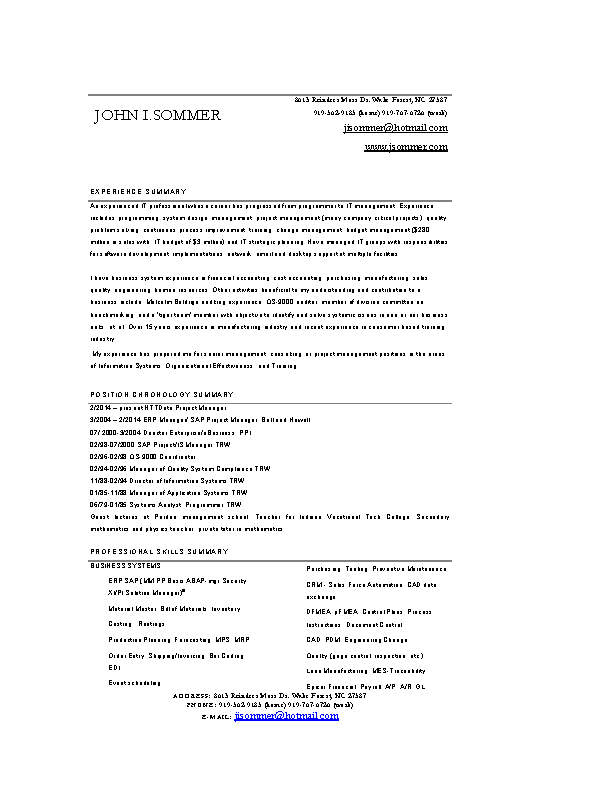 Project Manager Resume For Sap Word Free Download