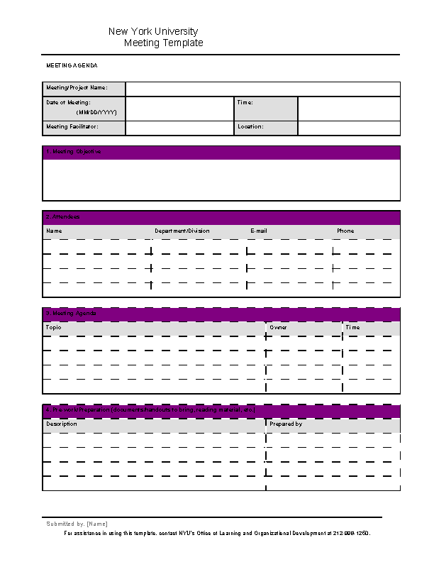 Project Microsoft Word Meeting Minutes Template