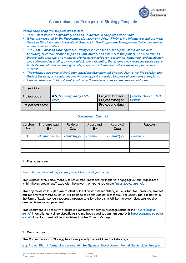 Project Team Update Template