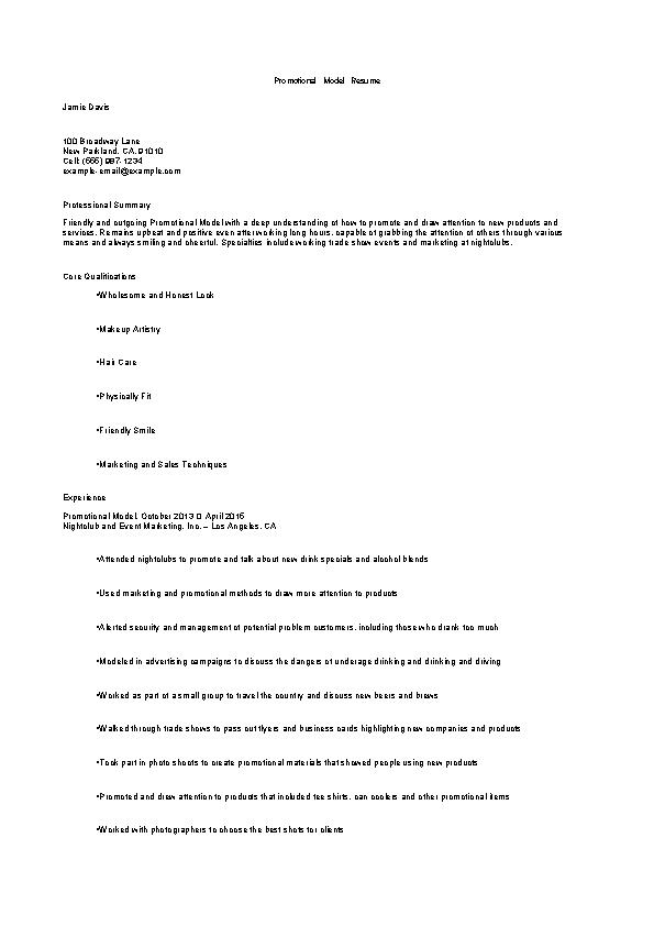 Promotional Model Resume