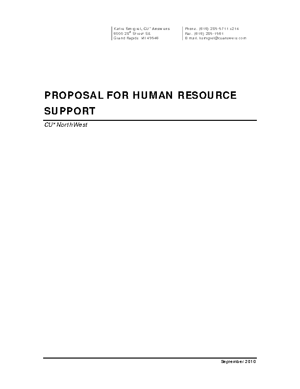 Proposal For Human Resources Support