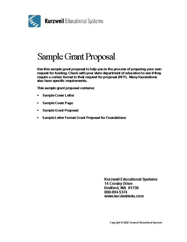 Proposal Writing For Grant Funding Example