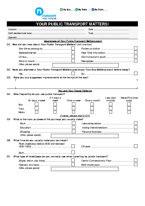 Public Transport Questionnaire
