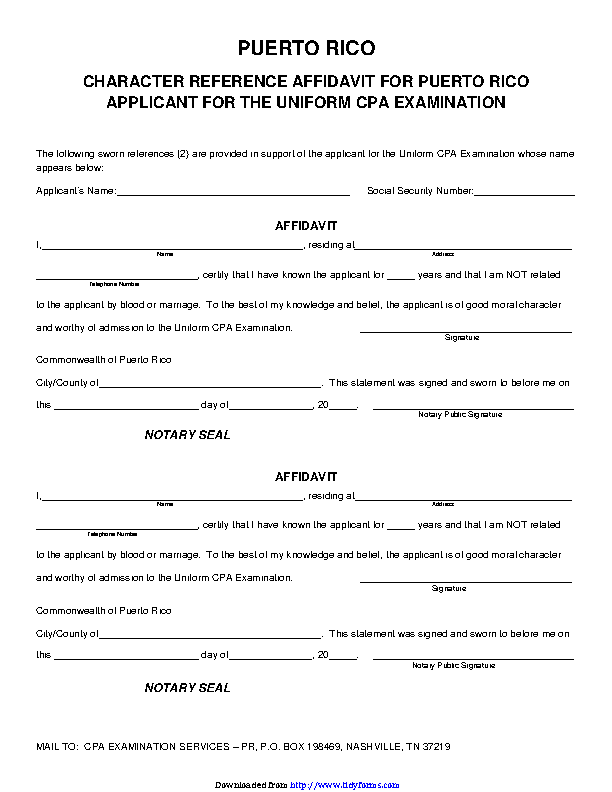 Puerto Rico Affidavit For The Uniform Cpa Examination Form