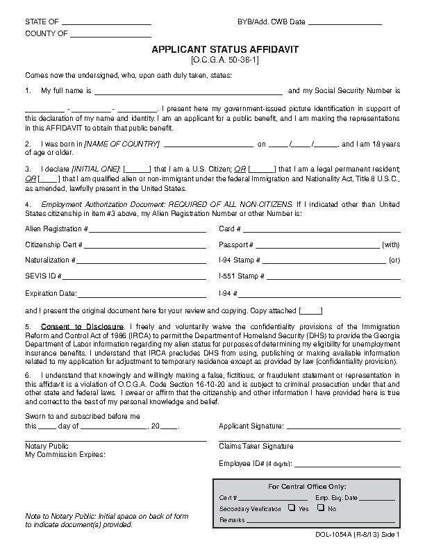 Puerto Rico Applicant Status Affidavit Form