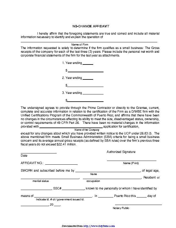 Puerto Rico No Change Affidavit Form