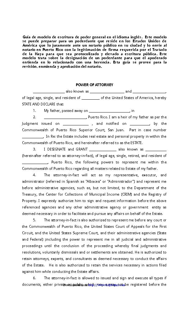 Puerto Rico Power Of Attorney