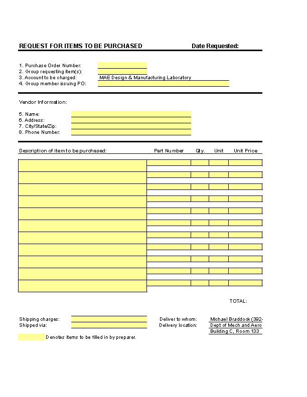 Purchase Order Form Template Excel
