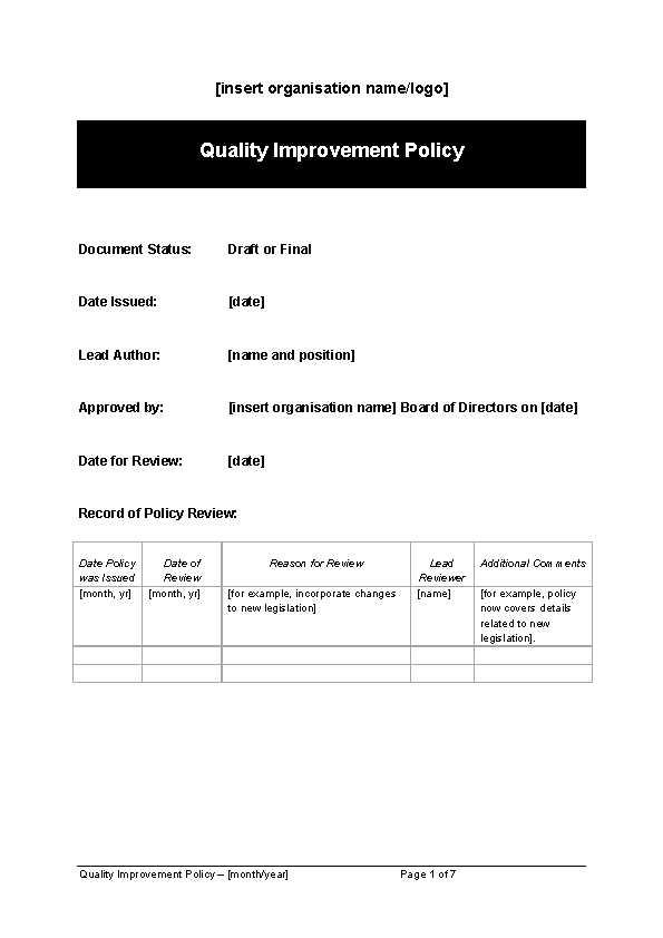 Quality Improvement Policy Template