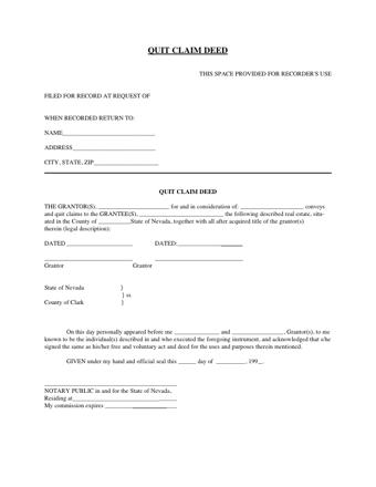 quit claim deed form nevada  Quit Claim Deed Nevada PDF - PDFSimpli