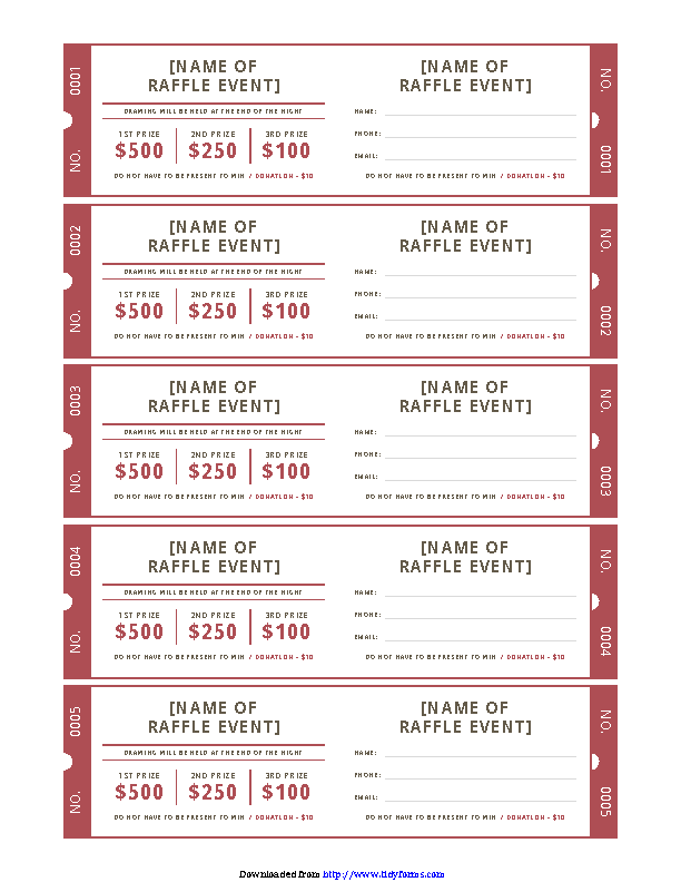 Raffle Ticket Template 2