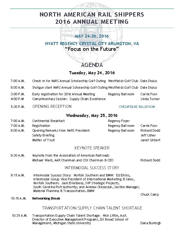 Rail Shippers Annual Meeting Agenda Template