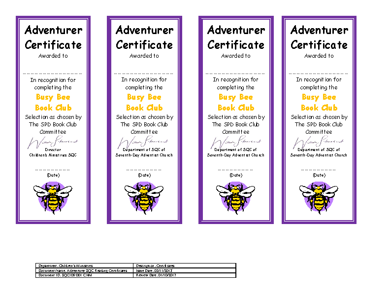 Reading Club Certificate Template