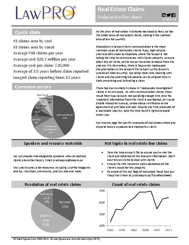 Real Estate Claim Fact Sheet Pdf Free Download
