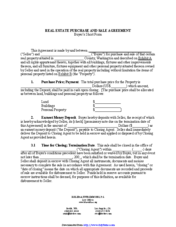 Real Estate Purchase And Sale Agreement