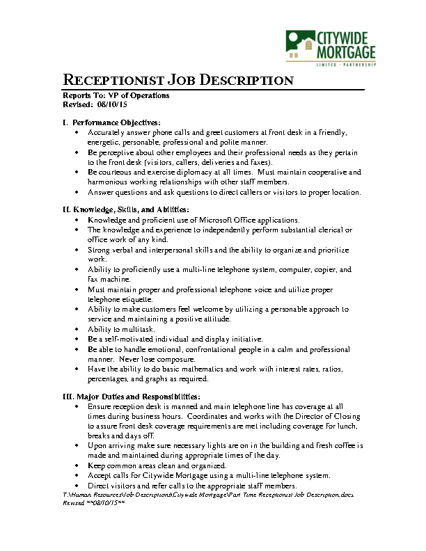 Receptionist Job Description Template