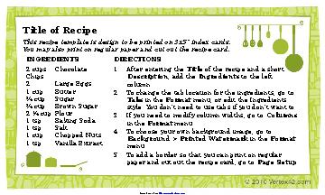 Recipe Card Template 3X5