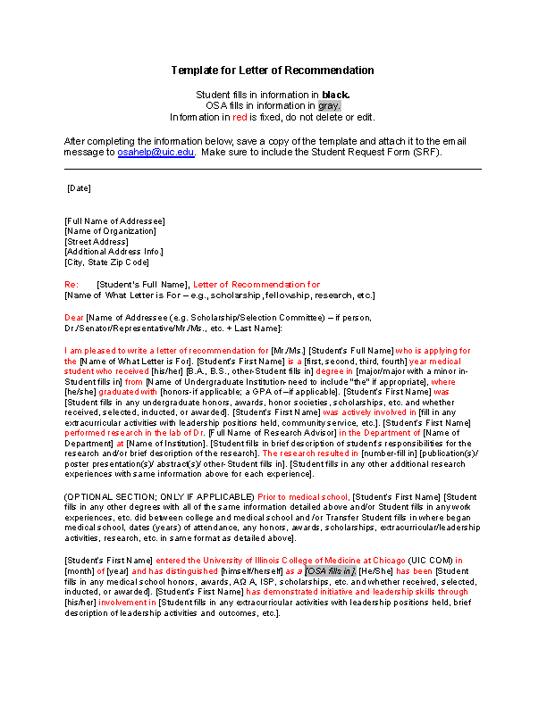 Recommendation Letter For Student Scholarship