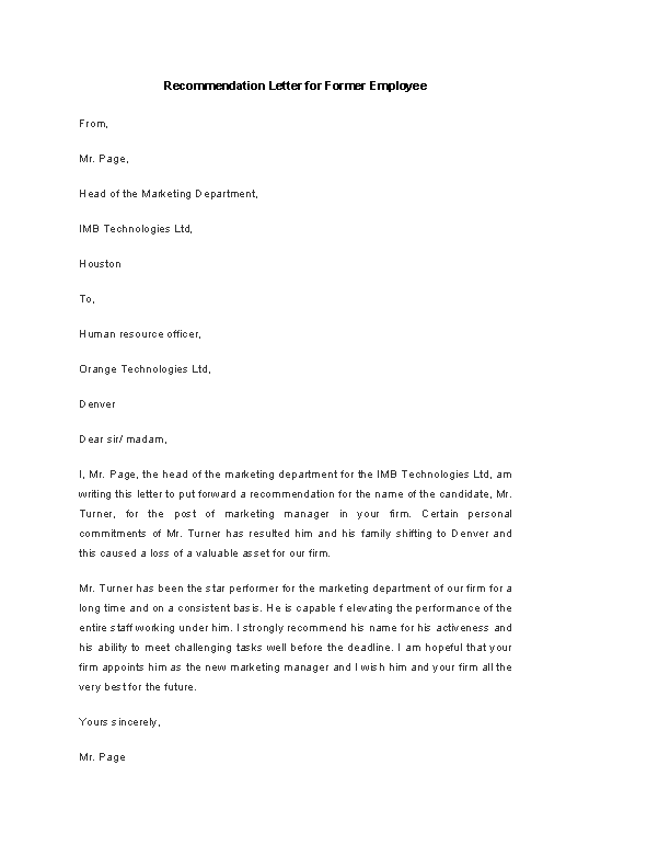 Letter Of Recommendation Example For Employee from devlegalsimpli.blob.core.windows.net