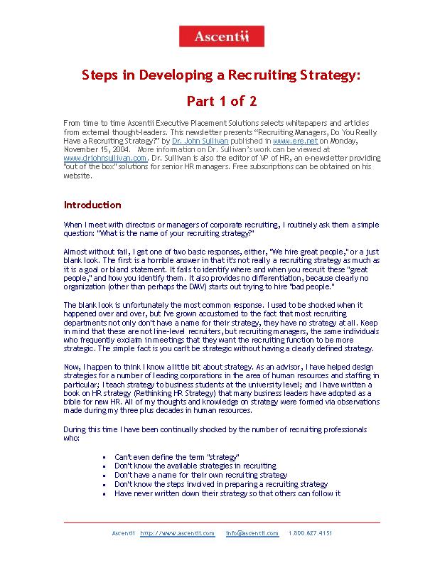 Recruiting Strategies Template