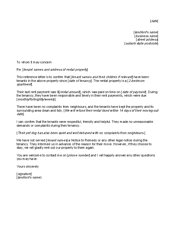 Reference Letter Of Rental From Employer