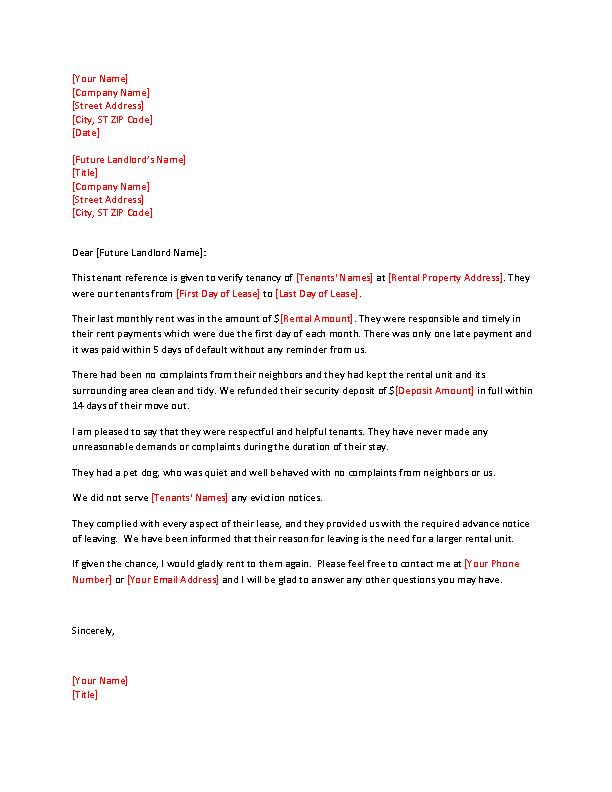 Reference Letter Of Rental From Neighbor
