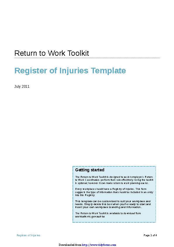 Register Of Injuries Template