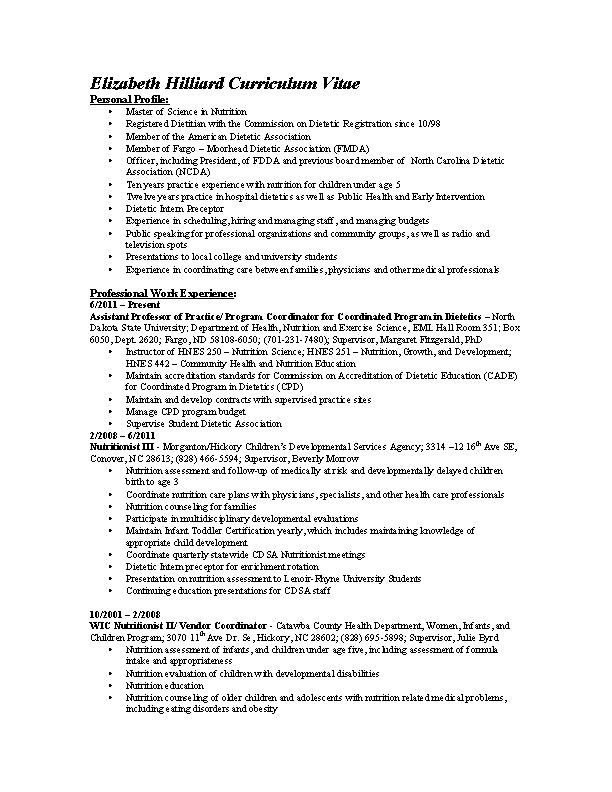 Registered Dietitian Resume