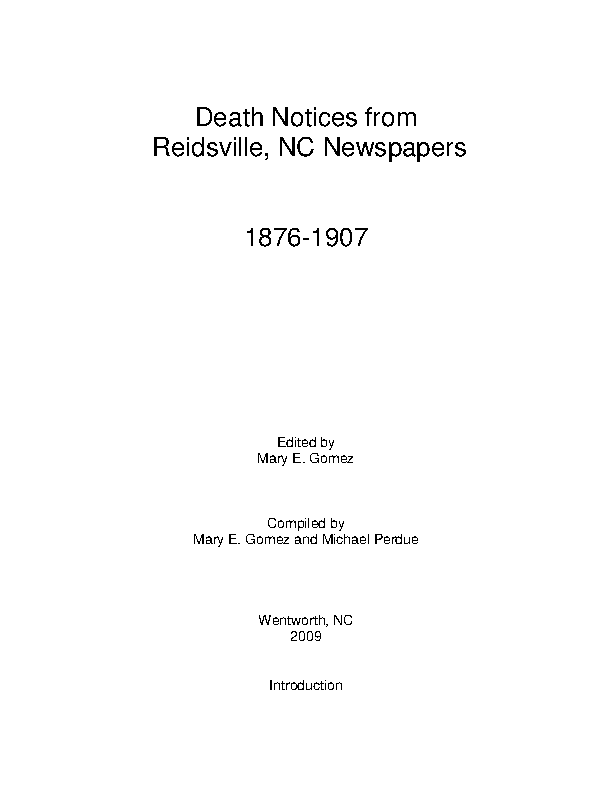 Reidsville Death Notice Template