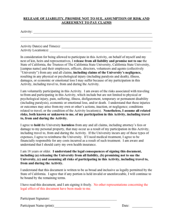 Liability Waiver | Release Of Liability Waiver Pdf Pdfsimpli