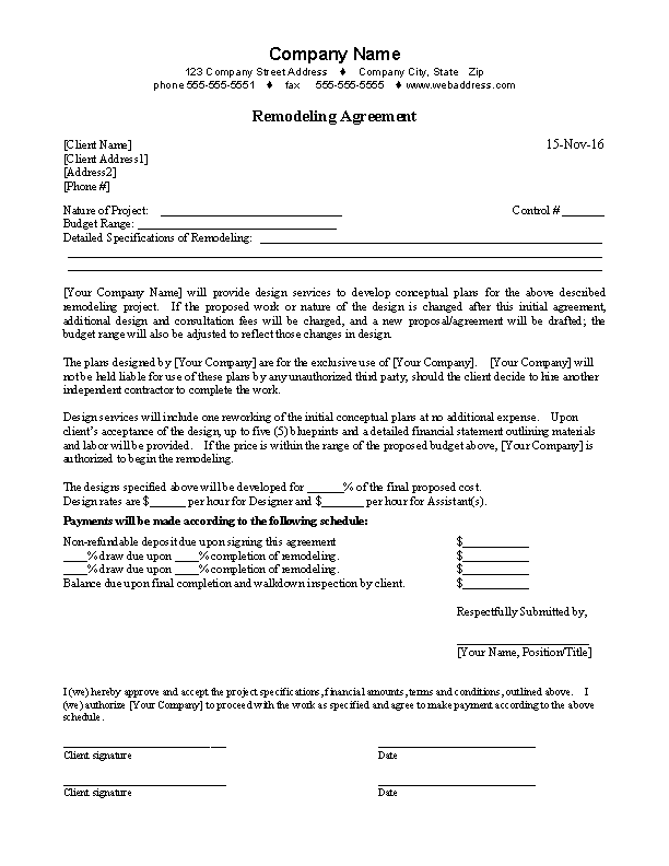 Remodeling Agreement