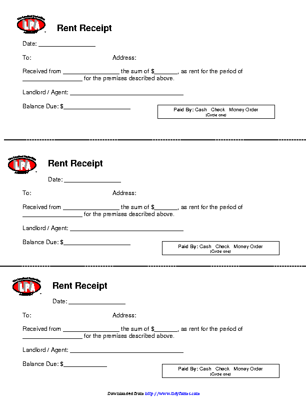 Rent Receipt Template 1