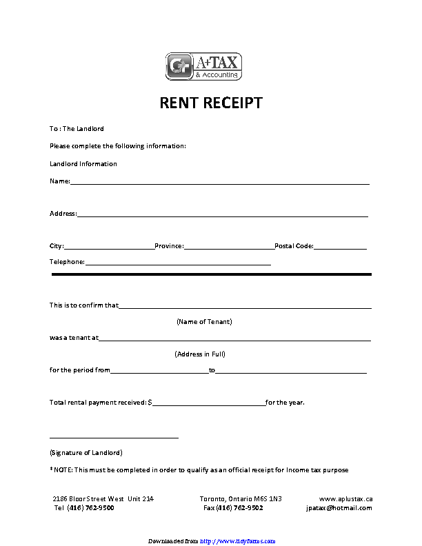 Rent Receipt Template 2
