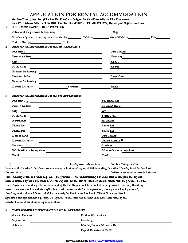 Rental Application Template 3