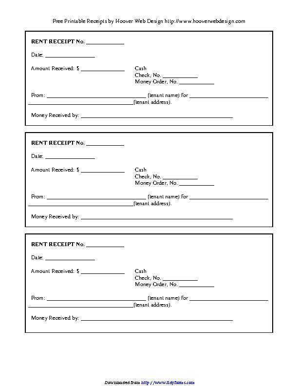 Rental Receipt Template 1