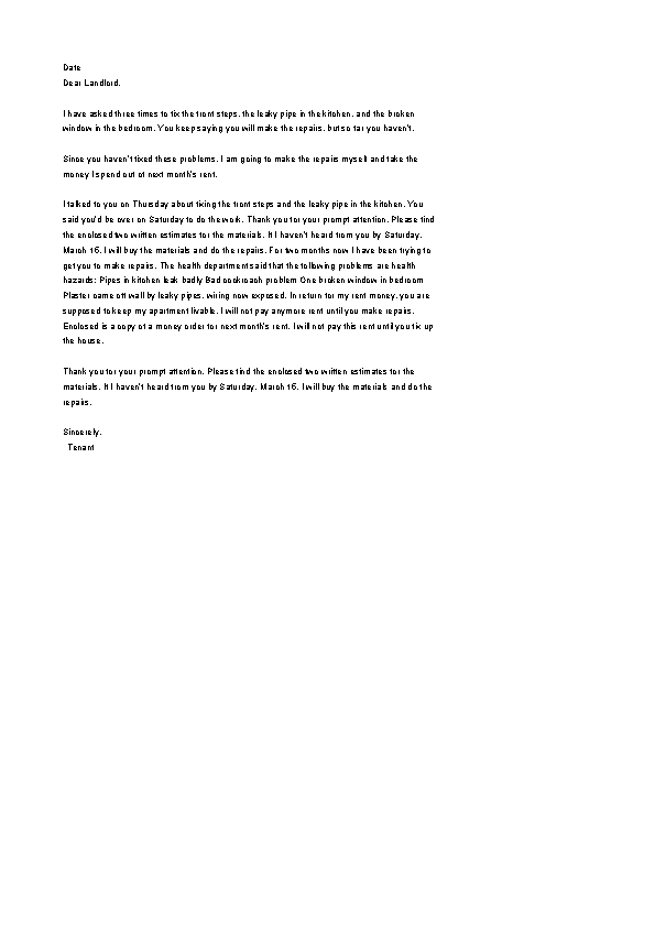 Repair Deduct Complaint Letter Template To Landlord