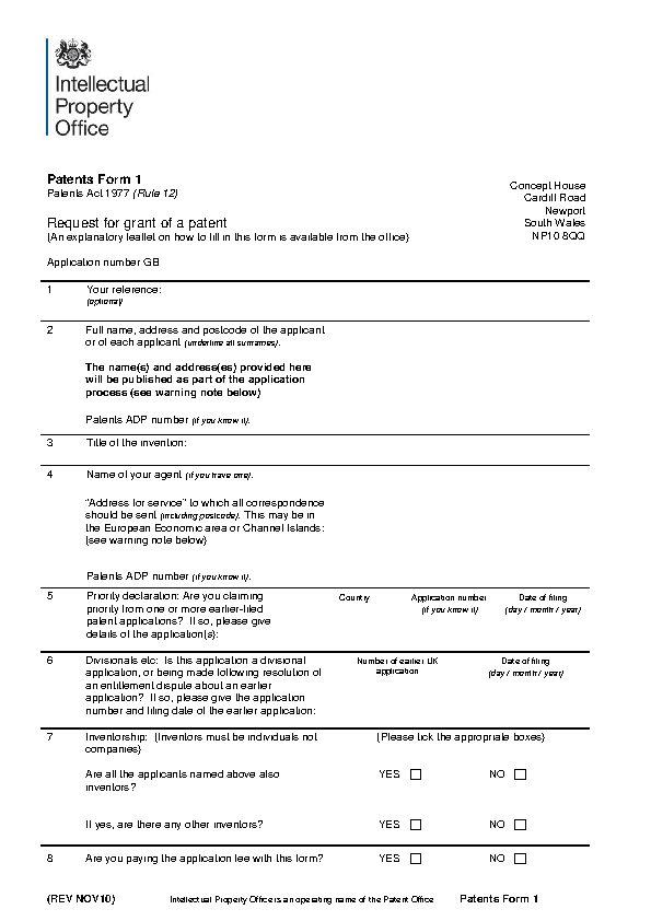 Request For Patent Application Form Pdf Format Download