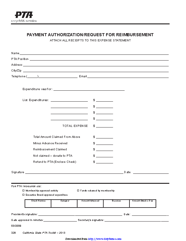Request For Reimbursement Form