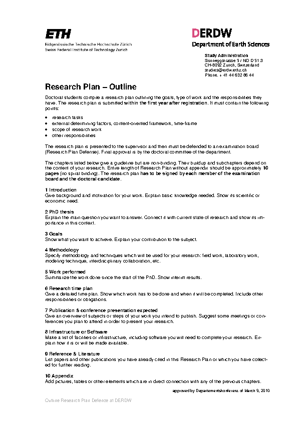 Research Plan Timeline Template