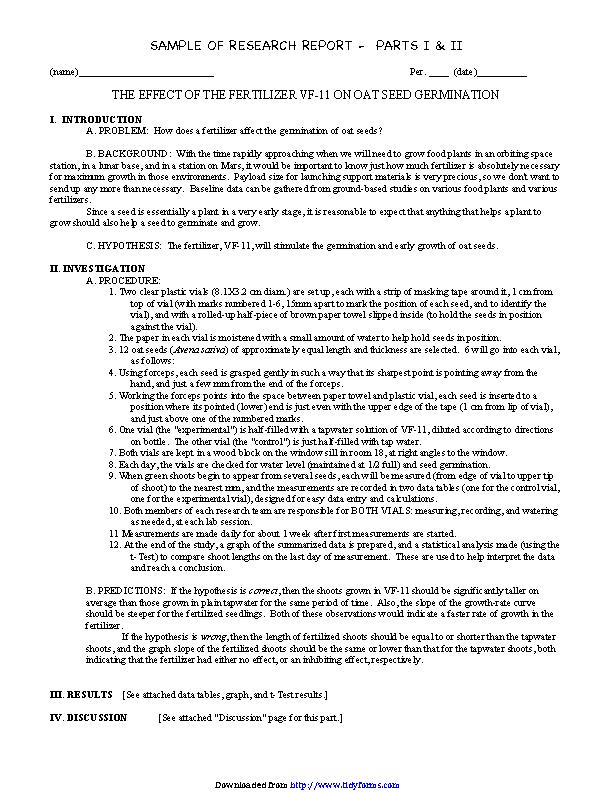 Research Report Sample 1