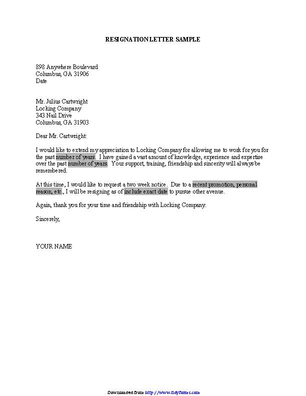 Resignation Letter Microsoft Template - PDFSimpli