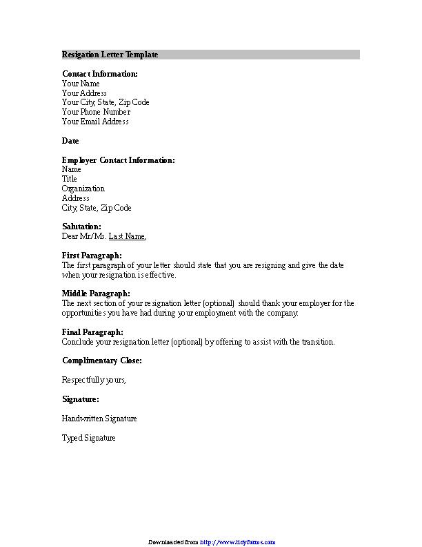 Resignation Letter Template 1