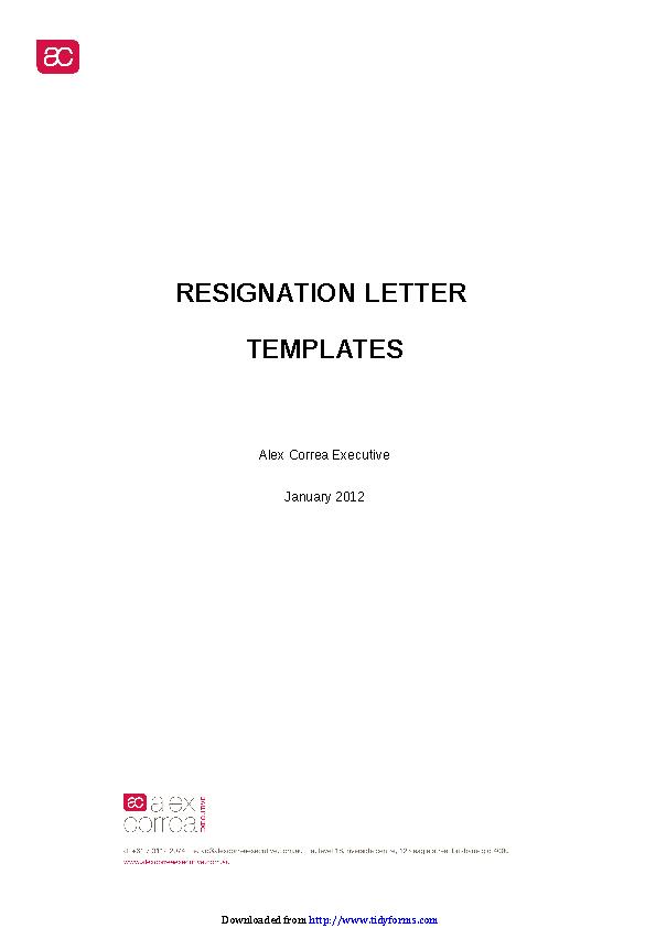 Resignation Letter Template 2
