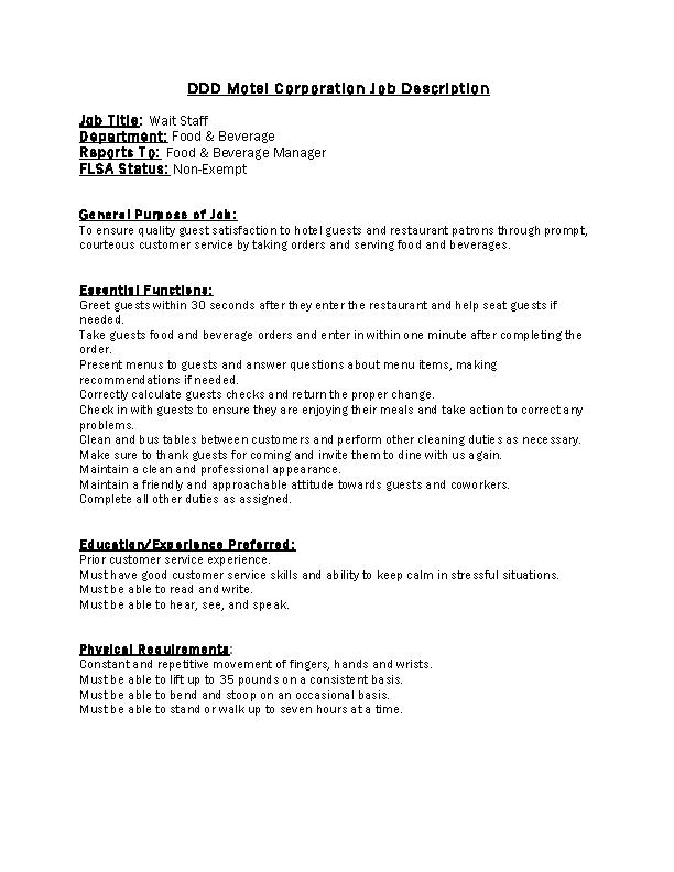 Restaurant Job Description Template