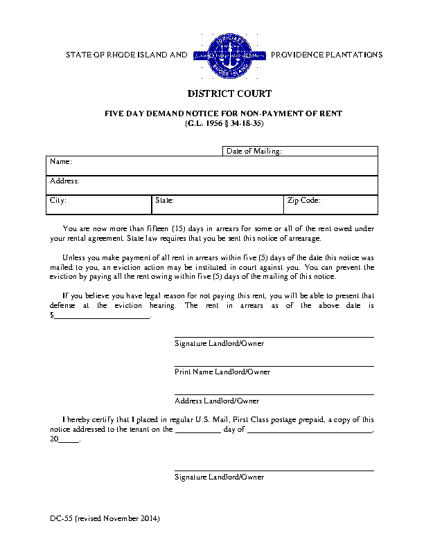 Rhode Island 5 Day Notice To Quit Nonpayment Form Dc 55