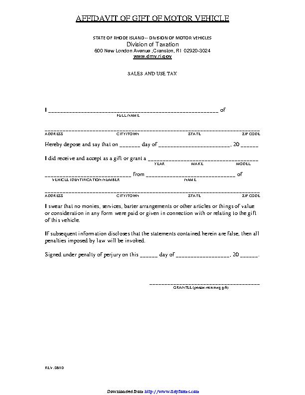 Rhode Island Affidavit Of Gift Of Motor Vehicle Form