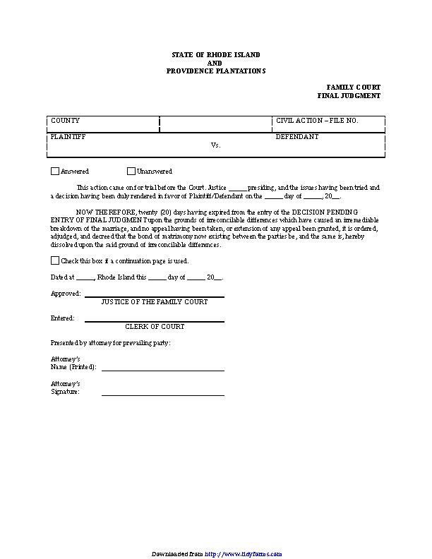 Rhode Island Final Judgment Of Divorce Form